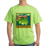 Australia Map with Waving Fla Green T-Shirt