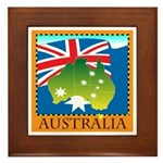 Australia Map with Waving Fla Framed Tile