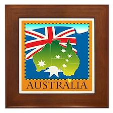 Australia Map with Waving Fla Framed Tile