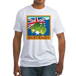 Australia Map with Waving Fla Fitted T-Shirt
