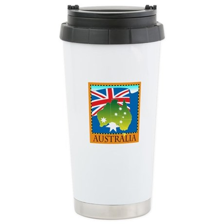 Australia Map with Waving Fla Stainless Steel Trav