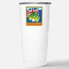 Australia Map with Waving Fla Travel Mug