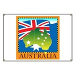 Australia Map with Waving Fla Banner