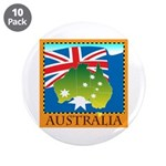 "Australia Map with Waving Fla 3.5"" Button (10 pack"
