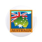 "Australia Map with Waving Fla 3.5"" Button"