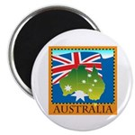 "Australia Map with Waving Fla 2.25"" Magnet (100 pa"