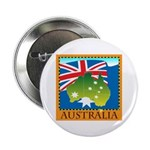 "Australia Map with Waving Fla 2.25"" Button (100 pa"
