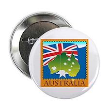 "Australia Map with Waving Fla 2.25"" Button"