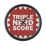 Triple Nerd Score Large Wall Clock