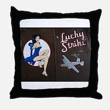 Lucky Strike Nose Art Throw Pillow