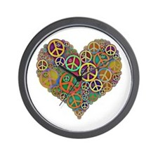 Cool Peace Sign Heart Wall Clock