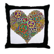 Cool Peace Sign Heart Throw Pillow