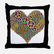 Cool Peace Sign Heart Throw Pillow