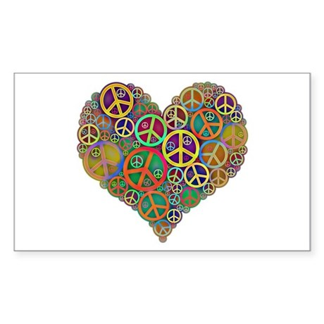 Cool Peace Sign Heart Sticker (Rectangle)