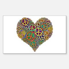 Cool Peace Sign Heart Decal