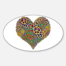 Cool Peace Sign Heart Sticker (Oval 10 pk)