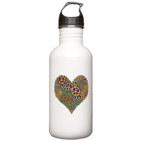 Cool Peace Sign Heart Stainless Water Bottle 1.0L