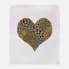 Cool Peace Sign Heart Throw Blanket
