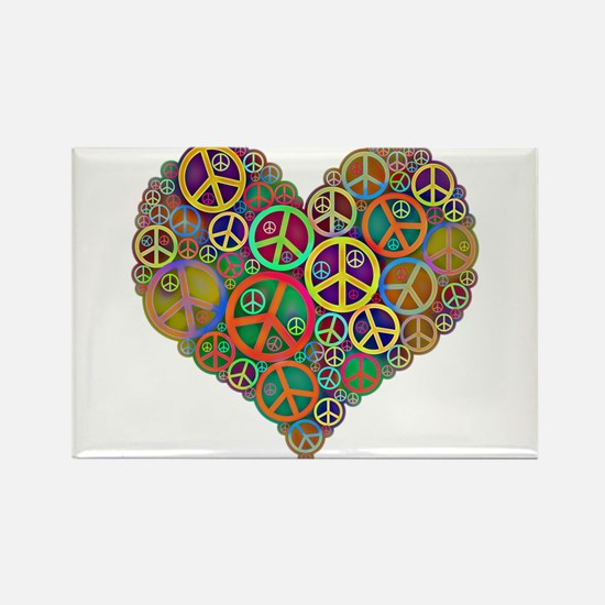 Cool Peace Sign Heart Rectangle Magnet (10 pack)