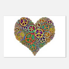 Cool Peace Sign Heart Postcards (Package of 8)
