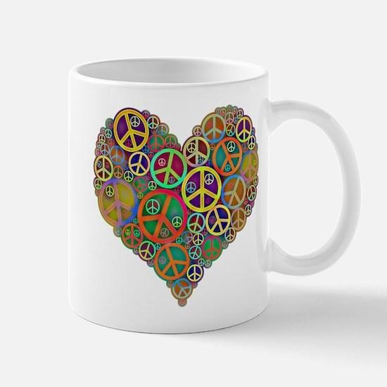 Cool Peace Sign Heart Mug