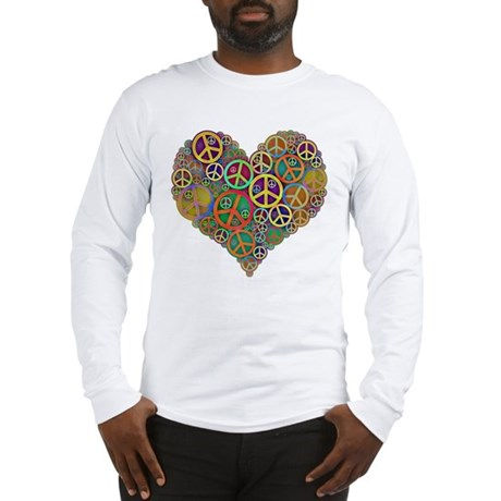 Cool Peace Sign Heart Long Sleeve T-Shirt