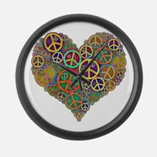 Cool Peace Sign Heart Large Wall Clock