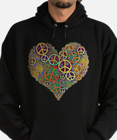 Cool Peace Sign Heart Hoodie (dark)