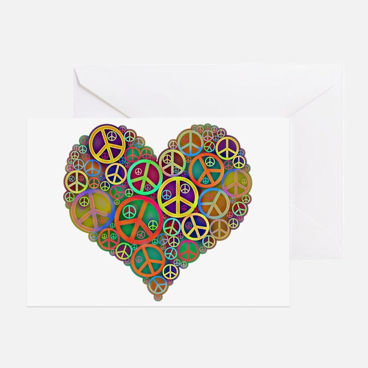 Cool Peace Sign Heart Greeting Card