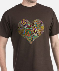 Cool Peace Sign Heart T-Shirt