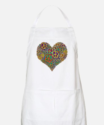 Cool Peace Sign Heart Apron