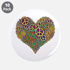 """Cool Peace Sign Heart 3.5"""" Button (10 pack)"""