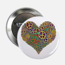 """Cool Peace Sign Heart 2.25"""" Button"""