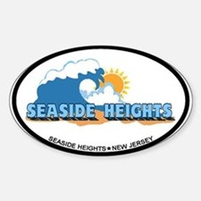 Seaside Heights NJ - Waves Design. Sticker (Oval)
