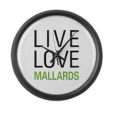 Live Love Mallards Large Wall Clock
