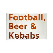 'Football, Beer & Kebabs' Rectangle Magnet