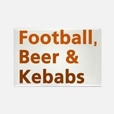 'Football, Beer & Kebabs' Rectangle Magnet