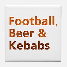 'Football, Beer & Kebabs' Tile Coaster