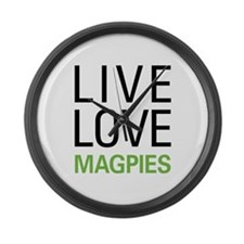 Live Love Magpies Large Wall Clock