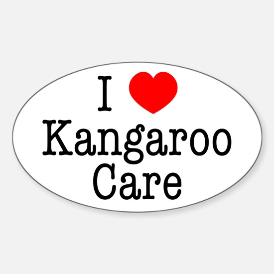 I Love Kangaroo Care Sticker (Oval)