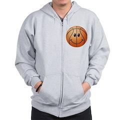 Basketball Smiley Face Zip Hoodie