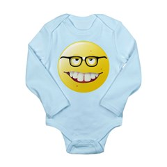Computer Geek Smiley Face Long Sleeve Infant Bodys