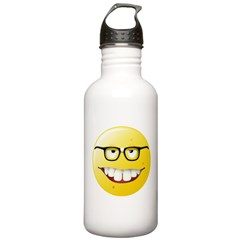 Computer Geek Smiley Face Water Bottle