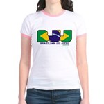 Brazilian flag colours BJJ Jr. Ringer T-Shirt