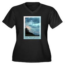 Erie, PA Women's Plus Size V-Neck Dark T-Shirt