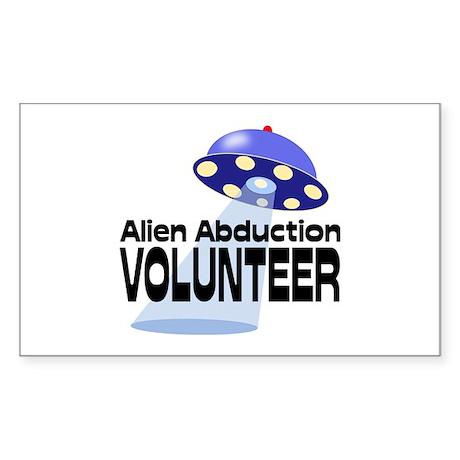 Alien Abductin Volunteer Sticker (Rectangle)