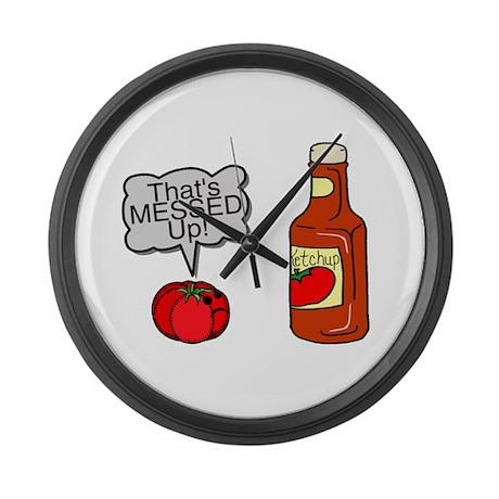 Messed Up Ketchup Large Wall Clock