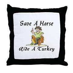 Ride A Turkey Throw Pillow