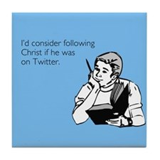 Christ Twitter Tile Coaster