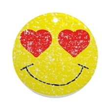 Vintage In Love Smiley 2 Ornament (Round)